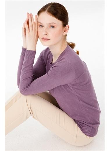 Desen Triko Kadın Sımlı Basıc Sıfır Yaka Bluz Sıyah Lila